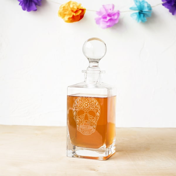 Sugar Skull Square Whiskey Decanter