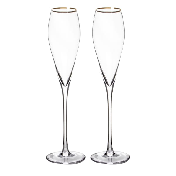 Gold Rim Champagne Flutes Set of 2