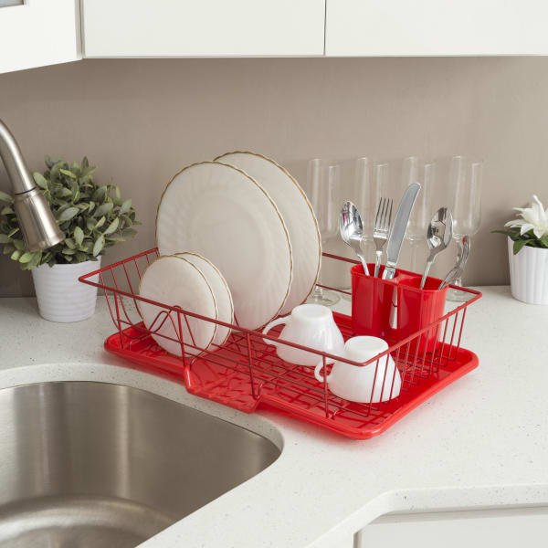 3 Piece Rust-Resistant Red Vinyl Dish Drainer with Self-Draining Drip Tray