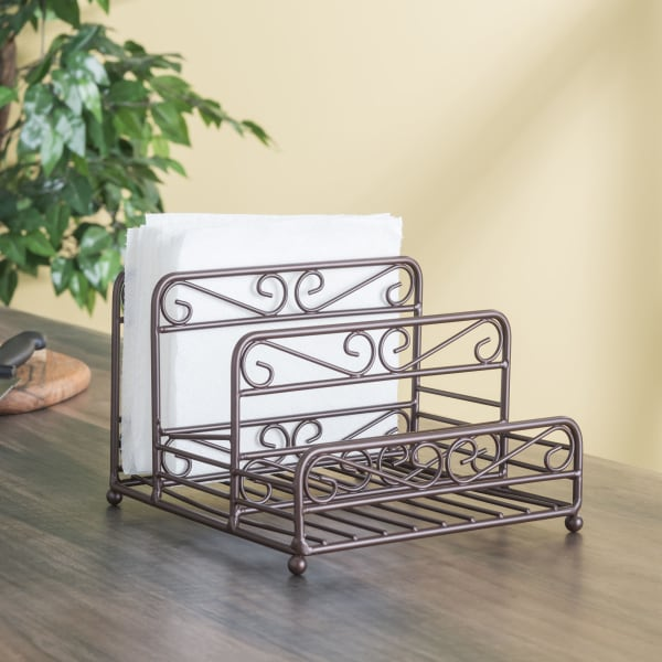Scroll Collection Bronze Salt And Pepper Napkin Caddy