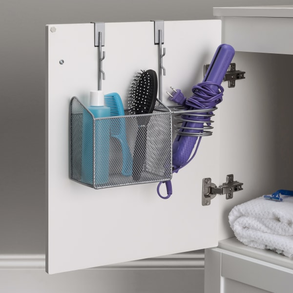 Silver Over the Cabinet Hairdryer Organizer