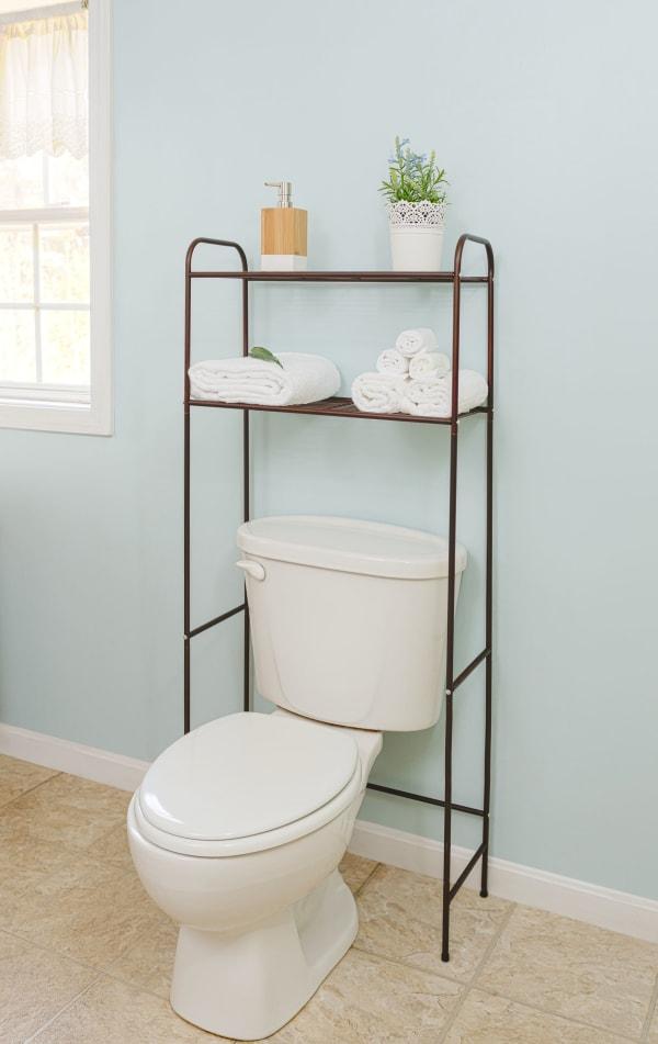 2 Shelf Bronze Bathroom Space Saver Shelf