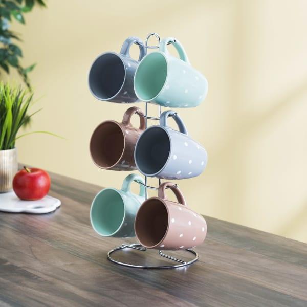 Classic Coffe Mug Set with Stand, Set of 6 Mugs