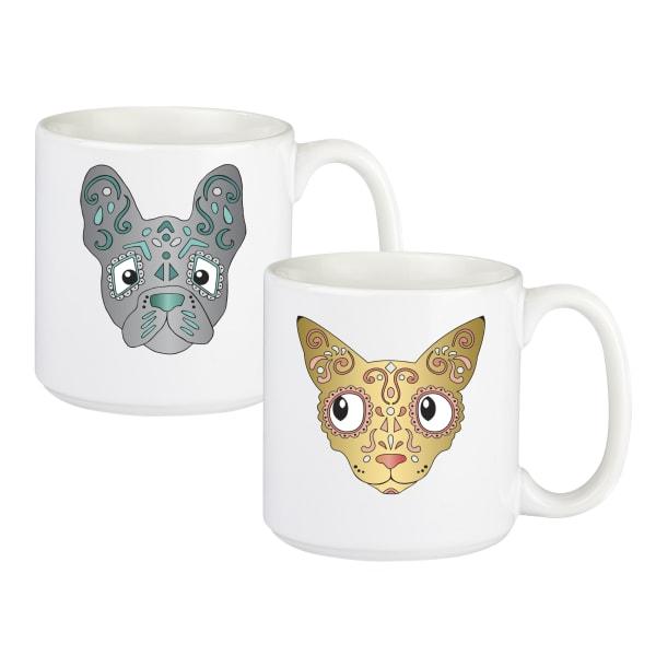Sugar Skull Pet 20 oz. Coffee Mug Set