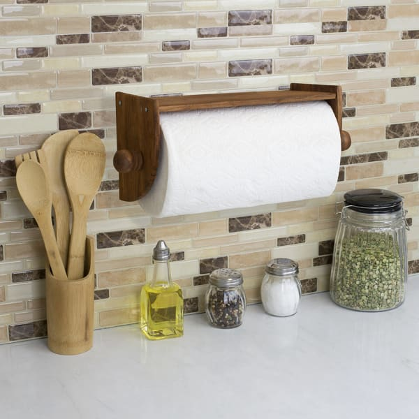 Quick Install Rustic Brown Pine Wood Wall Mounted Paper Towel Holder with Flat Top