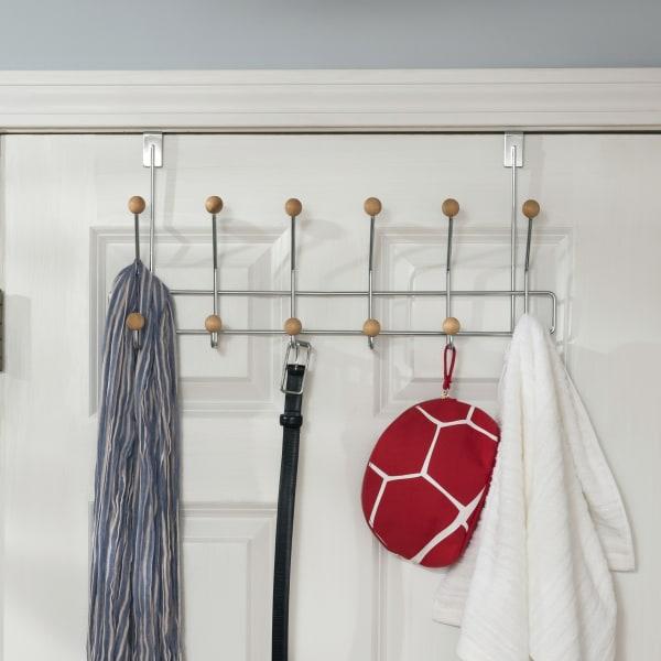 Chrome Plated Steel Over the Door 6-Hook Hanging Rack