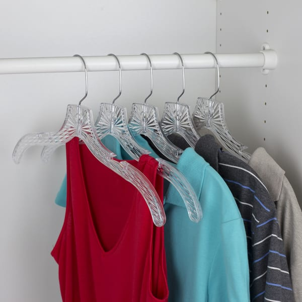 Graceful Curve Clear Plastic Hangers, Pack of 5