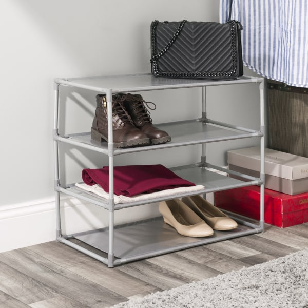 4 Tier, 12 Pair Gray Non-Woven Free-Standing Shoe Rack