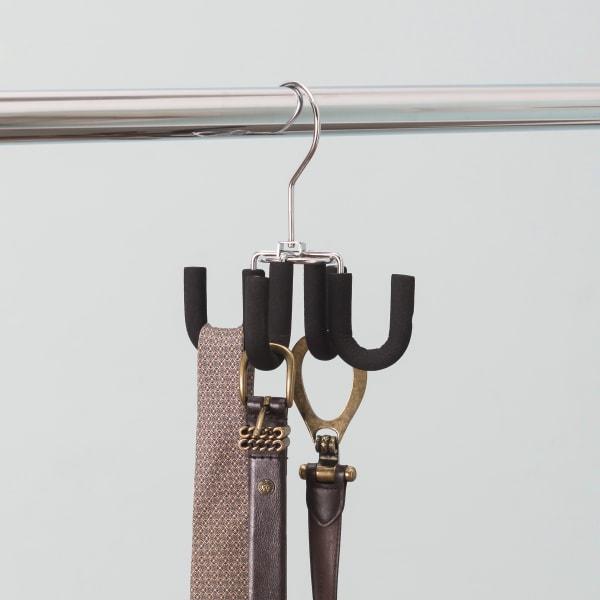 4 Hook Swivel Black Belt Hanger