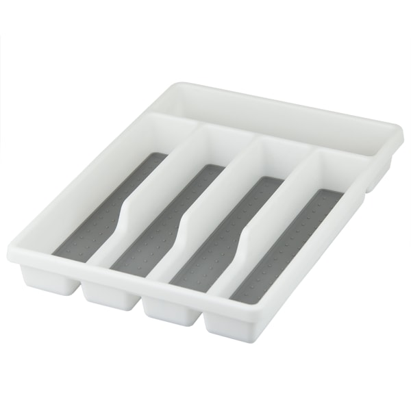 White Plastic Cutlery Tray with Rubber-Lined Compartments
