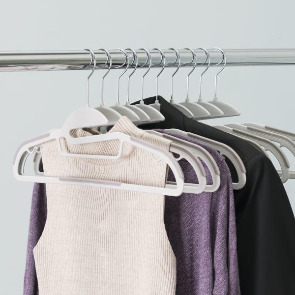 White Plastic Non-Slip Hanger, Pack of 10