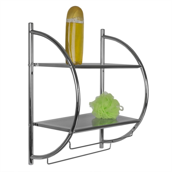 Wall Mounting 2 Tier Chrome Plated Steel Bathroom Shelf with Towel Bar