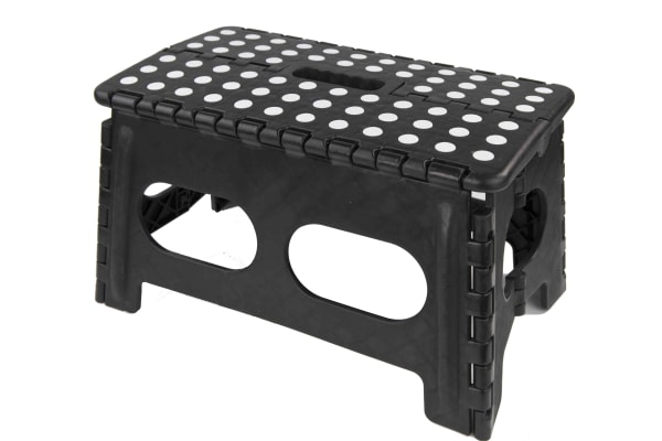 Black Folding Stool with Non Slip Grip Dots and Carrying Handle