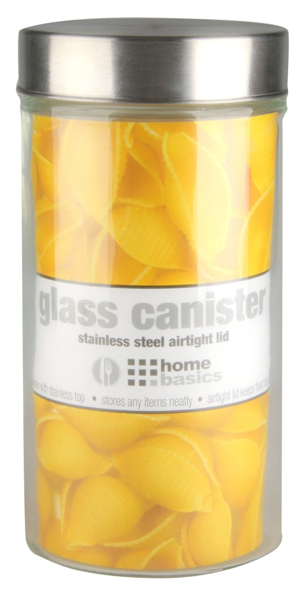 Large 54 oz. Round Glass Canister with Air-Tight Stainless Steel Twist Top Lid