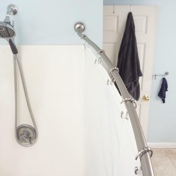 Satin Nickel Steel Curved Shower Rod