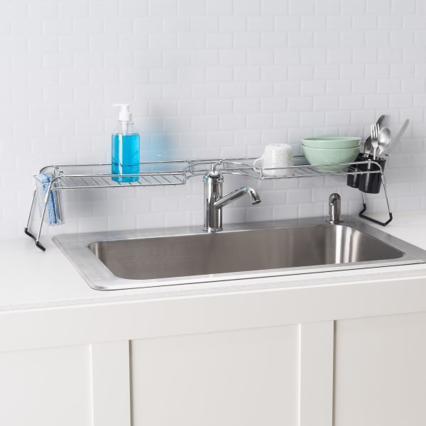 Chrome Over The Sink Shelf With Cutlery Holder And Stabilizing Rubber Pier 1