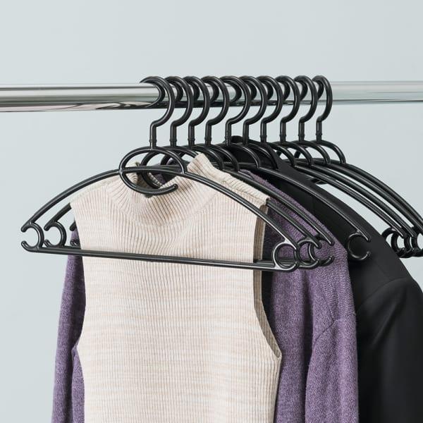 Black Plastic Hangers, Pack of 10