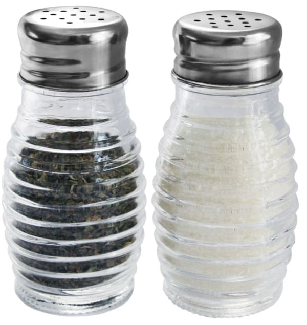 Beehive Glass Salt and Pepper Shakers with Stainless Steel Sifter Tops Set of 2