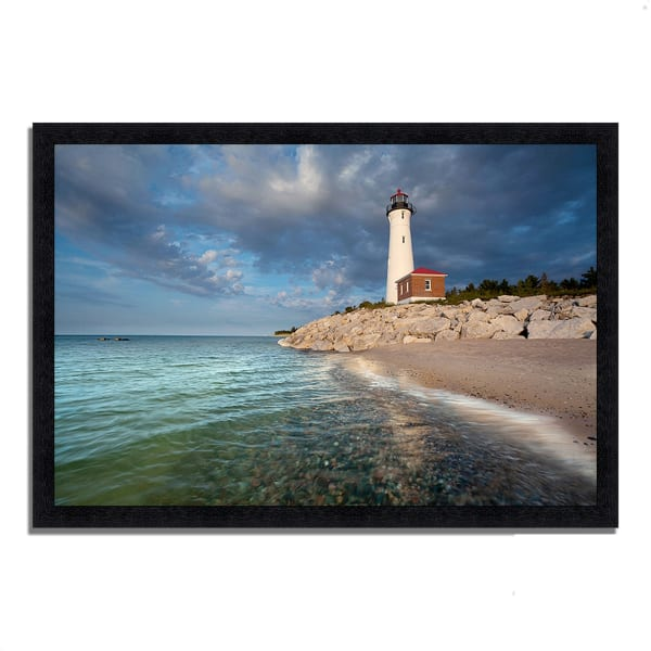Framed Photograph Print 33 In. x 23 In. Crisp Point Lighthouse Multi Color