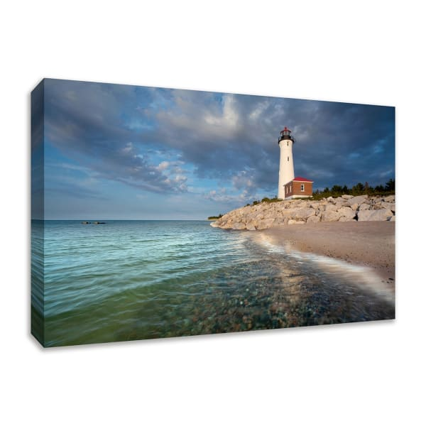 Fine Art Giclee Print on Gallery Wrap Canvas 36 In. x 24 In. Crisp Point Lighthouse Multi Color