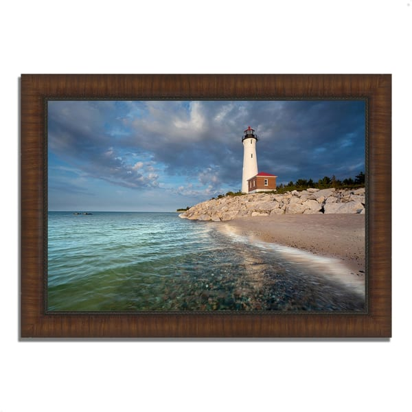 Framed Photograph Print 42 In. x 30 In. Crisp Point Lighthouse Multi Color