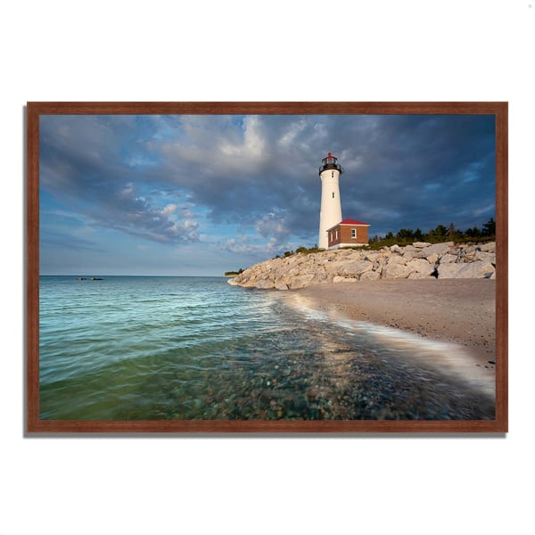 Framed Photograph Print 38 In. x 26 In. Crisp Point Lighthouse Multi Color