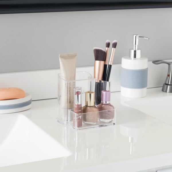 3 Compartment Clear Make-up Brush Holder