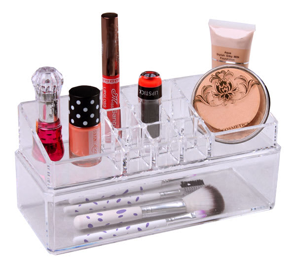 Clear Plastic Cosmetic Organizer with Drawer