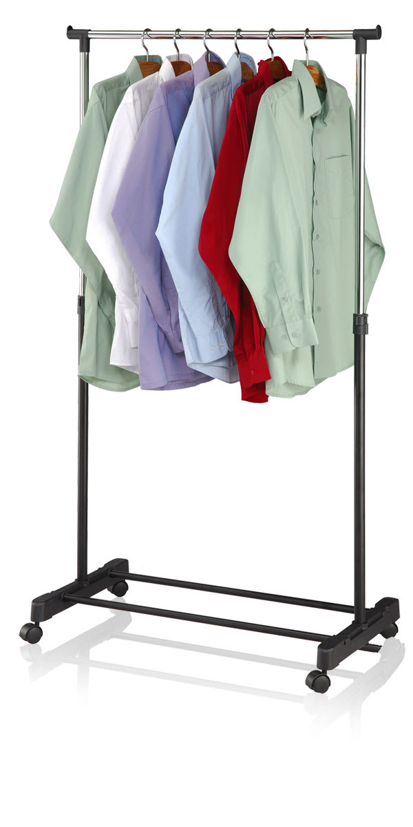 Single Rail Black Adjustable Rolling Garment Organizing Rack