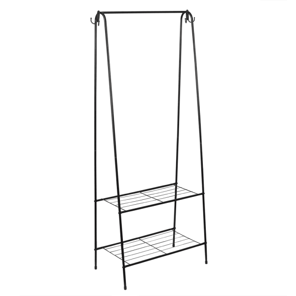 2 Shelf Black Free-Standing Garment Rack with Hooks