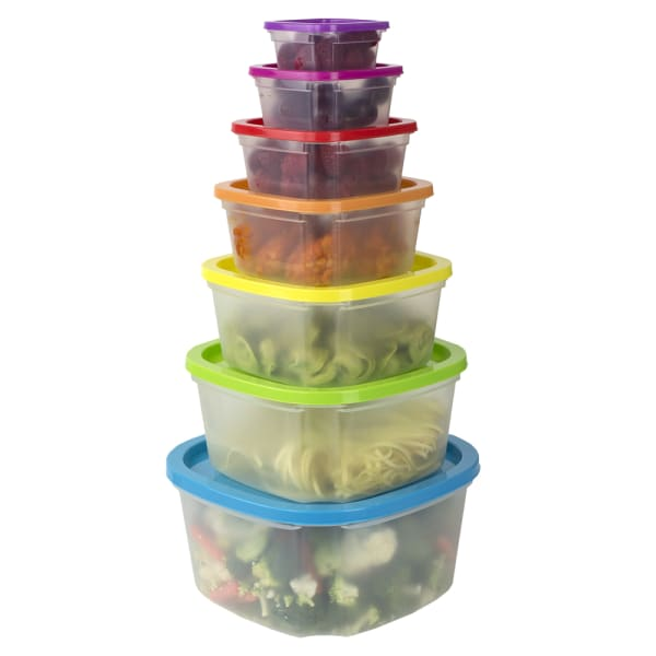 Plastic Food Storage Containers with Multicolor lids, 7 Piece Set