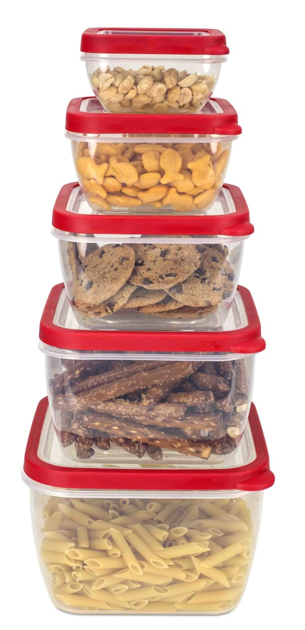 Spill-Proof Square Plastic Food Storage Containers with Lids, 5 Piece Set