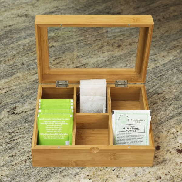 Bamboo Tea Bag and Coffee Accessories Chest with Glass Lid