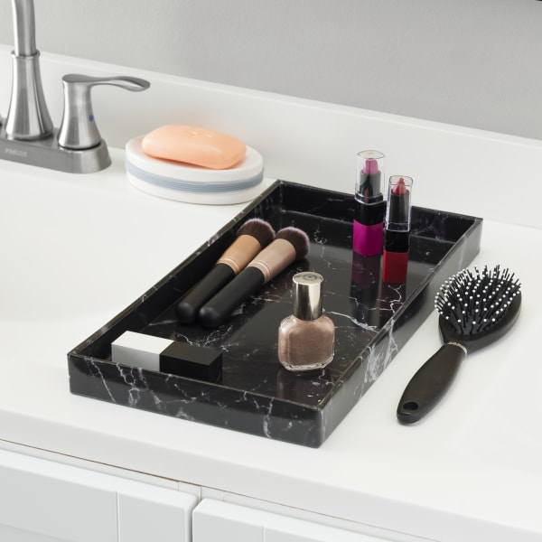 Black Faux Marble Vanity Tray