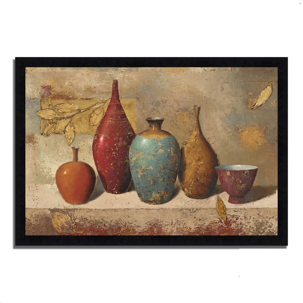 Framed Painting Print 33 In. x 23 In. Leaves and Vessels by James Wiens Multi Color