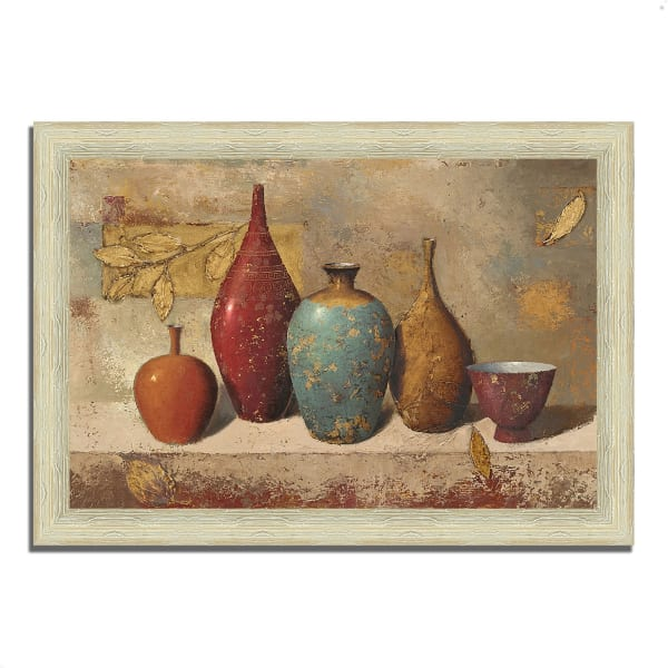 Framed Painting Print 36 In. x 26 In. Leaves and Vessels by James Wiens Multi Color