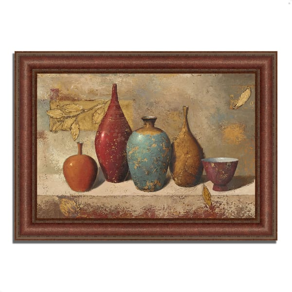 Framed Painting Print 37 In. x 27 In. Leaves and Vessels by James Wiens Multi Color