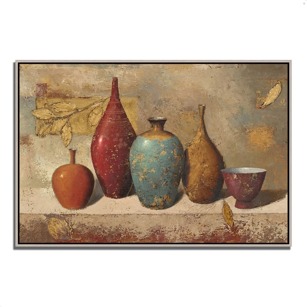 Fine Art Giclee Print on Gallery Wrap Canvas 32 In. x 22 In. Leaves and Vessels by James Wiens Multi Color