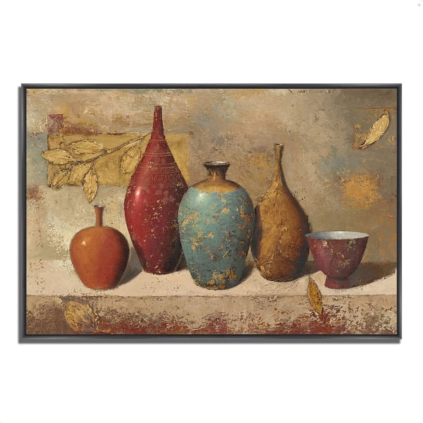 Fine Art Giclee Print on Gallery Wrap Canvas 59 In. x 40 In. Leaves and Vessels by James Wiens Multi Color