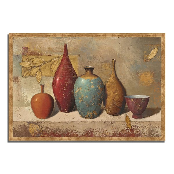 Framed Painting Print 59 In. x 40 In. Leaves and Vessels by James Wiens Multi Color