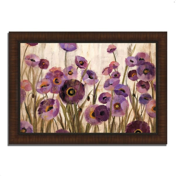 Framed Painting Print 36 In. x 26 In. Pink and Purple Flowers by Silvia Vassileva Multi Color