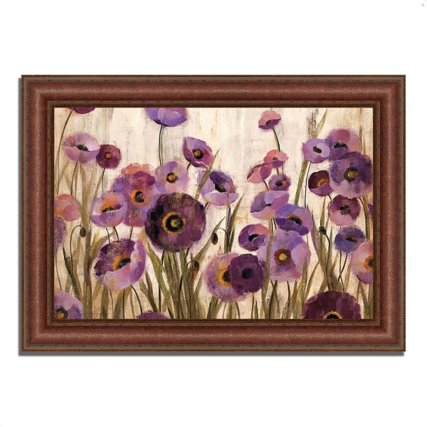 Framed Painting Print 37 In. x 27 In. Pink and Purple Flowers by Silvia Vassileva Multi Color