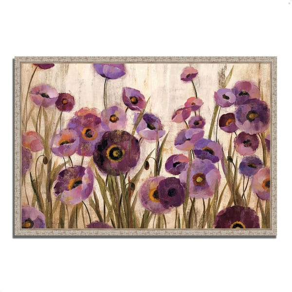 Fine Art Giclee Print on Gallery Wrap Canvas 32 In. x 22 In. Pink and Purple Flowers by Silvia Vassileva Multi Color