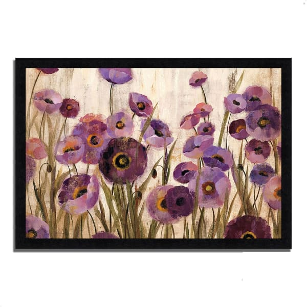 Framed Painting Print 60 In. x 41 In. Pink and Purple Flowers by Silvia Vassileva Multi Color