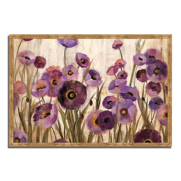 Framed Painting Print 38 In. x 26 In. Pink and Purple Flowers by Silvia Vassileva Multi Color