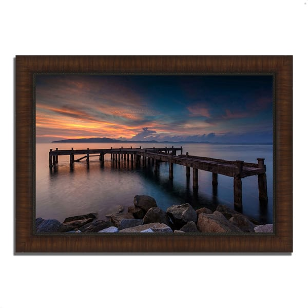 Framed Photograph Print 42 In. x 30 In. Sunrise Jetty Multi Color