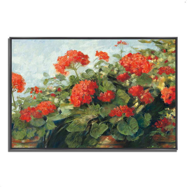 Fine Art Giclee Print on Gallery Wrap Canvas 38 In. x 26 In. Geranium Wave by Carol Rowan Multi Color