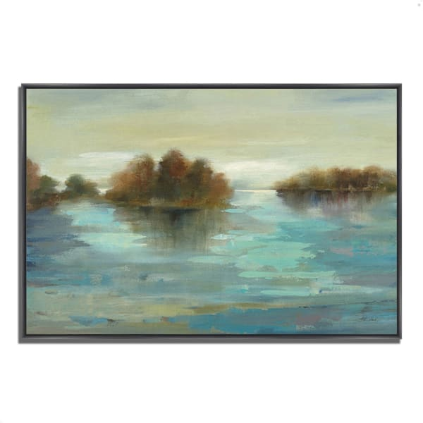 Fine Art Giclee Print on Gallery Wrap Canvas 32 In. x 22 In. Serenity on the River by Silvia Vassileva Multi Color