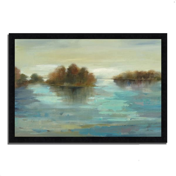 Framed Painting Print 39 In. x 27 In. Serenity on the River by Silvia Vassileva Multi Color