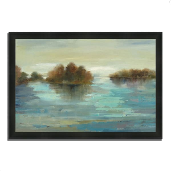Framed Painting Print 46 In. x 33 In. Serenity on the River by Silvia Vassileva Multi Color